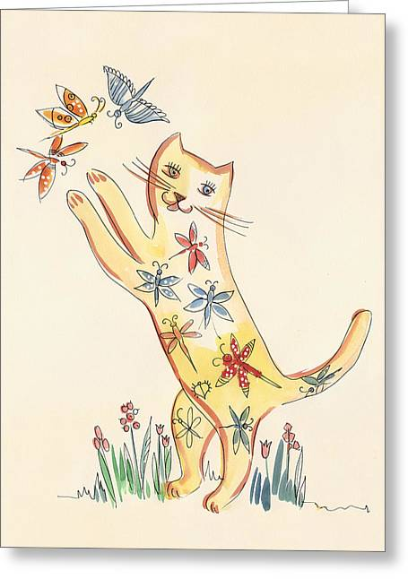 Cat With Butterflies Greeting Card by Dina-Art