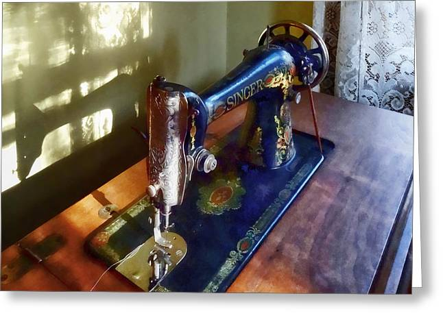 Vintage Sewing Machine And Shadow Greeting Card