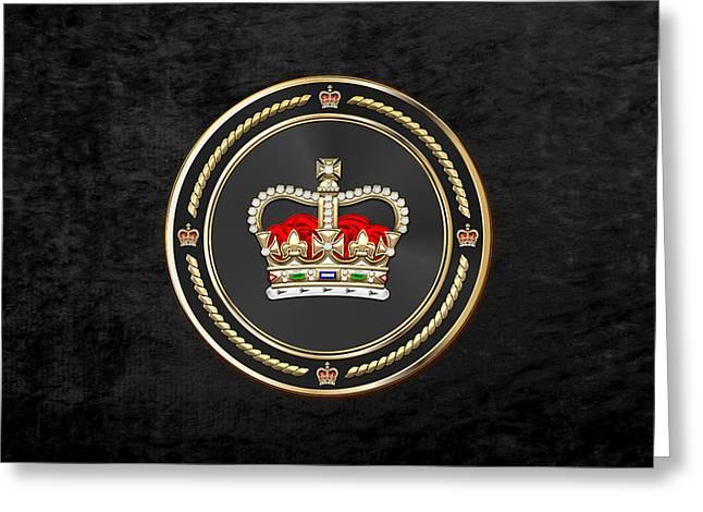 St Edward's Crown - British Royal Crown Over Black Velvet Greeting Card