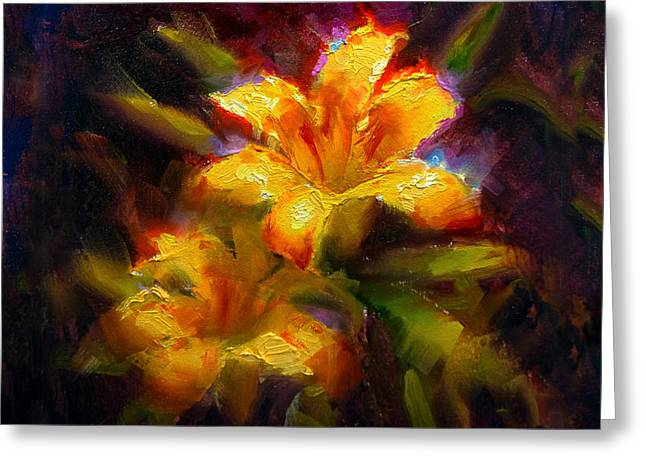 Greeting Card featuring the painting Daylily Sunshine - Colorful Tiger Lily/orange Day-lily Floral Still Life  by Karen Whitworth