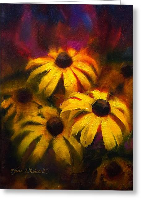 Greeting Card featuring the painting Black Eyed Susans - Vibrant Flowers by Karen Whitworth