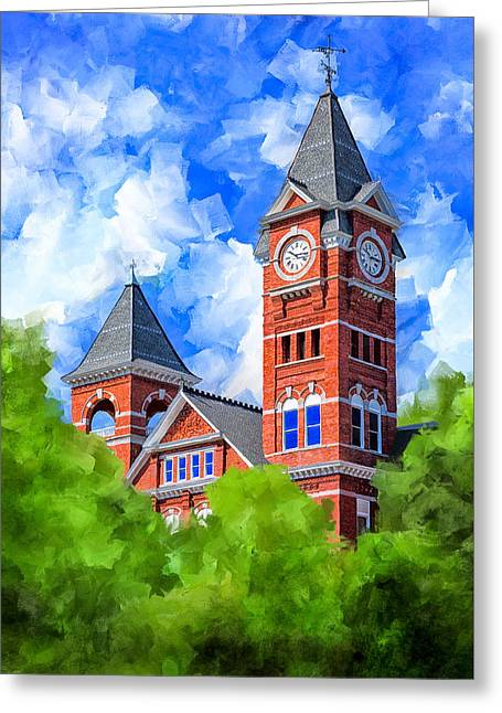 Greeting Card featuring the mixed media Memories Of Auburn - Samford Hall by Mark Tisdale