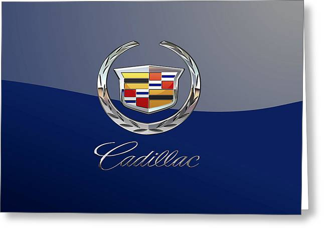 Cadillac 3 D  Badge Special Edition On Blue Greeting Card by Serge Averbukh