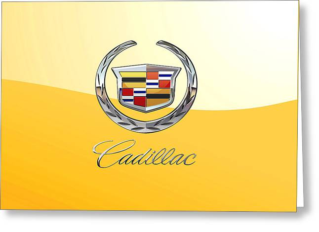 Cadillac 3 D  Badge Special Edition On Yellow Greeting Card by Serge Averbukh