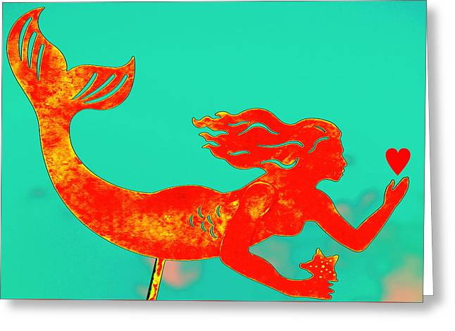 Crimson Mermaid Greeting Card