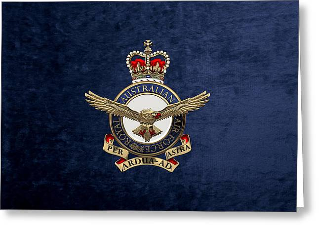 Royal Australian Air Force -  R A A F  Badge Over Blue Velvet Greeting Card