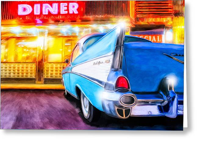 Greeting Card featuring the mixed media Classic Diner - 57 Chevy by Mark Tisdale
