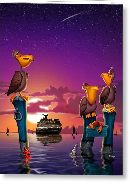 Pelicans On Poles At Sunset Tropical Cartoon Florida Seascape - Vertical Greeting Card by Walt Curlee