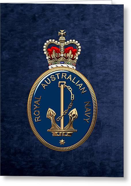 Royal Australian Navy -  R A N  Badge Over Blue Velvet Greeting Card by Serge Averbukh