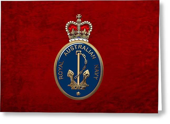Royal Australian Navy -  R A N  Badge Over Red Velvet Greeting Card by Serge Averbukh