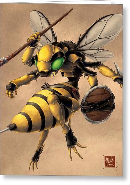 Angry Bee Greeting Card by James Ng