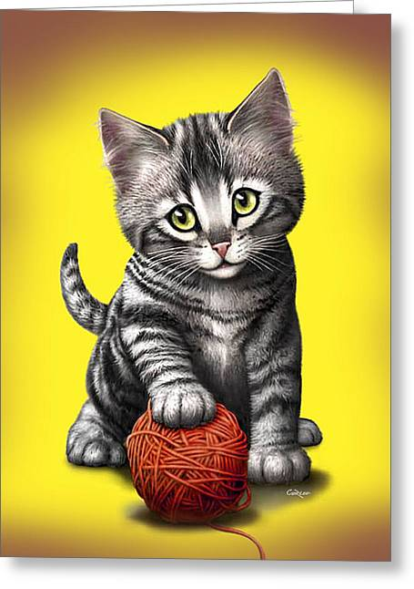 Kitten Playing With Ball Of Yarn Greeting Card