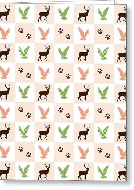 Rustic Wildlife Pattern Greeting Card
