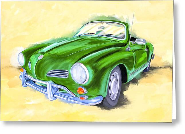With The Top Down - Vw Karmann Ghia Greeting Card