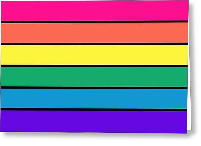 Pastel Rainbow Stripes Greeting Card by Johari Smith