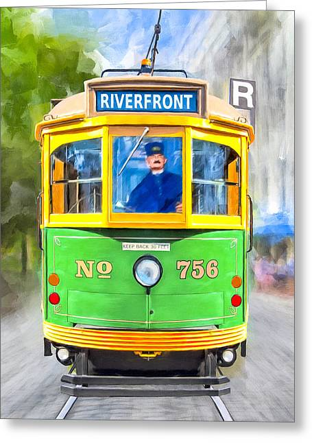 Classic Streamline Streetcar - Savannah Riverfront Greeting Card