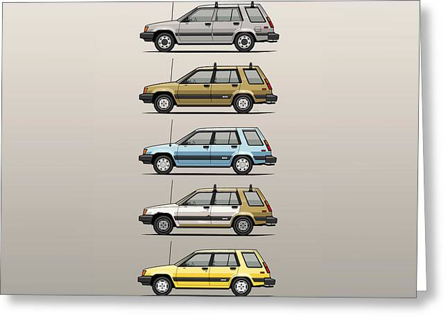 Stack Of Mark's Toyota Tercel Al25 Wagons Greeting Card