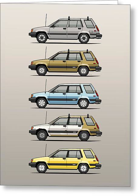 Stack Of Mark's Toyota Tercel Al25 Wagons Greeting Card by Monkey Crisis On Mars