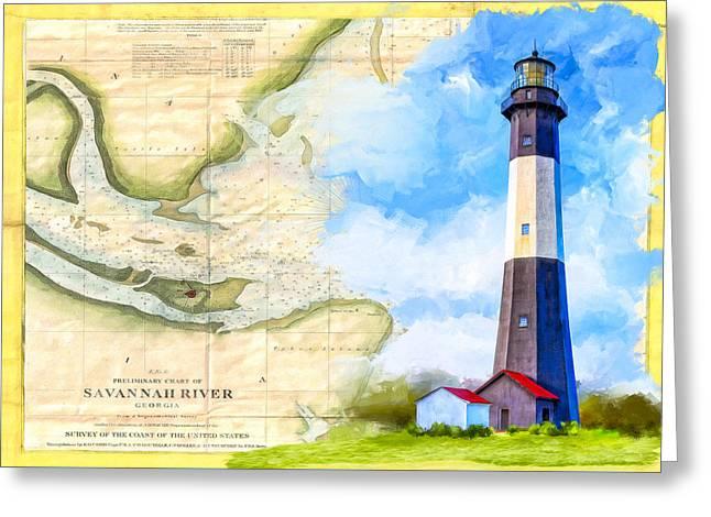 Tybee Island Light - Vintage Nautical Map Greeting Card