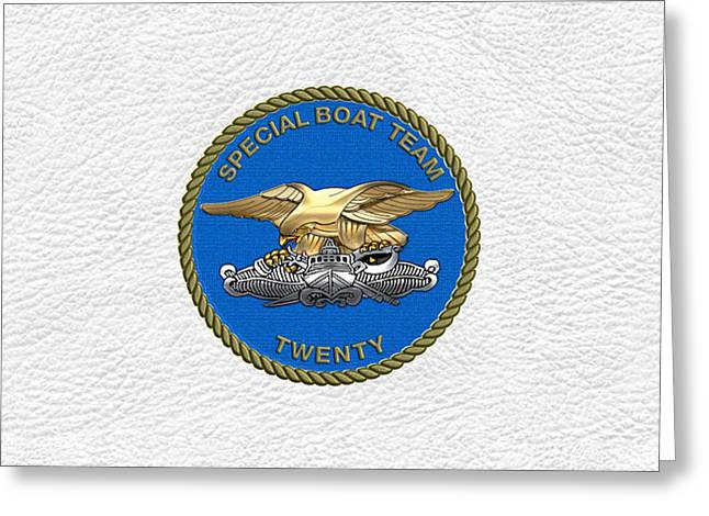 U. S. Navy S W C C - Special Boat Team 20   -  S B T 20   Patch Over White Leather Greeting Card