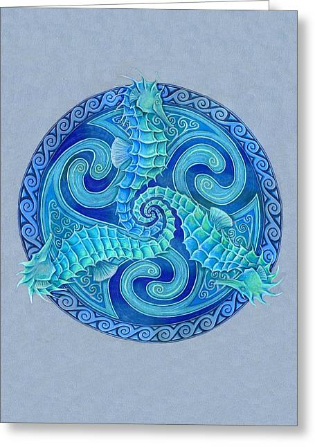 Seahorse Triskele Greeting Card