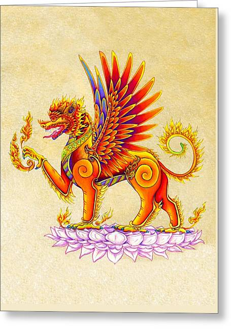 Singha Winged Lion Greeting Card by Rebecca Wang