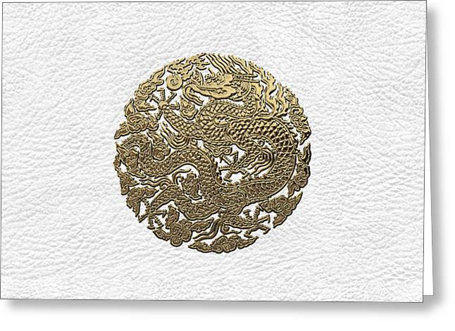 Golden Chinese Dragon White Leather  Greeting Card