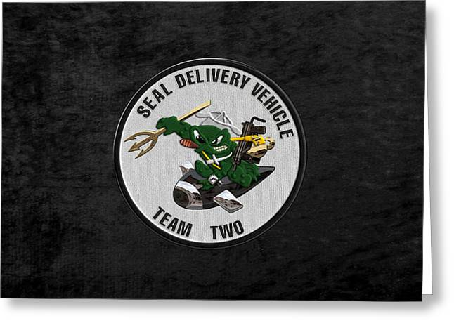 S E A L Delivery Vehicle Team Two  -  S D V T 2  Patch Over Black Velvet Greeting Card by Serge Averbukh