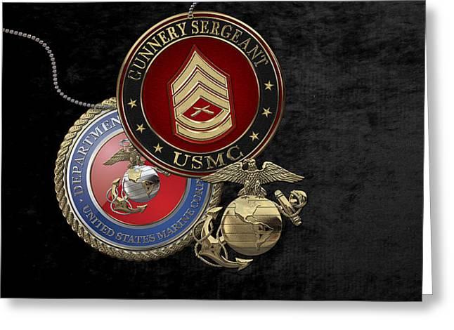 U. S. Marine Gunnery Sergeant Rank Insignia Over Black Velvet Greeting Card by Serge Averbukh