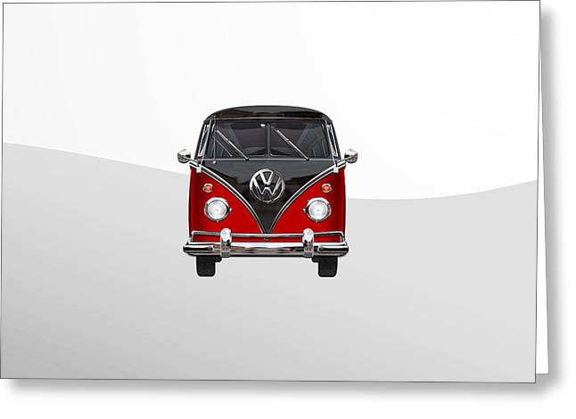 Volkswagen Type 2 - Red And Black Volkswagen T 1 Samba Bus On White  Greeting Card