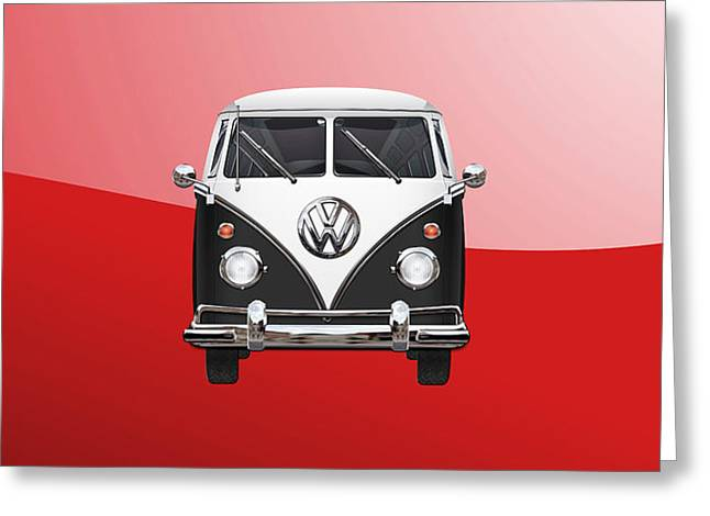 Volkswagen Type 2 - Black And White Volkswagen T 1 Samba Bus On Red  Greeting Card