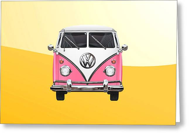 Pink And White Volkswagen T 1 Samba Bus On Yellow Greeting Card