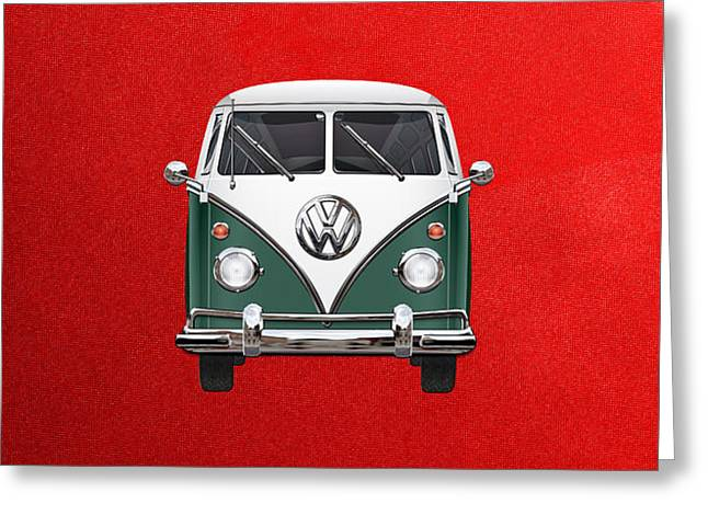 Volkswagen Type 2 - Green And White Volkswagen T 1 Samba Bus Over Red Canvas  Greeting Card