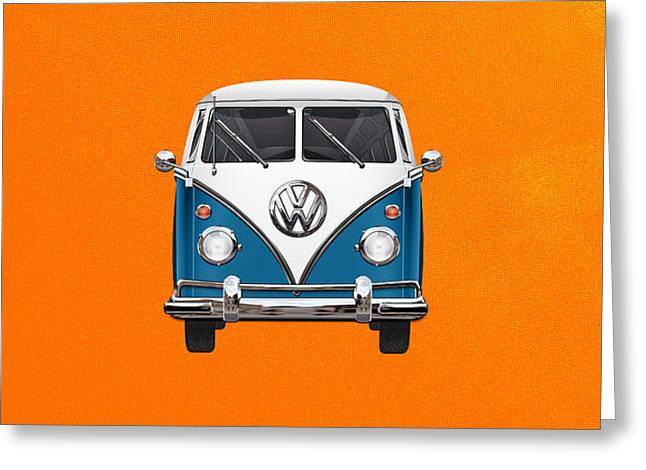 Volkswagen Type 2 - Blue And White Volkswagen T 1 Samba Bus Over Orange Canvas  Greeting Card