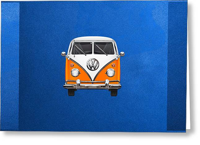 Volkswagen Type - Orange And White Volkswagen T 1 Samba Bus Over Blue Canvas Greeting Card