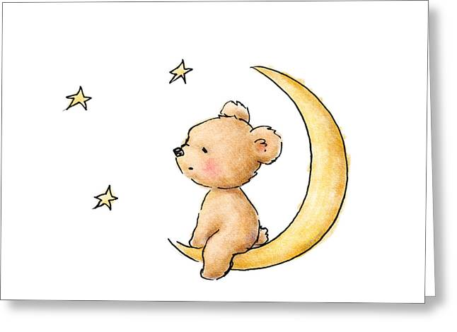 Teddy Bear Watching The Stars  Greeting Card by Anna Abramska