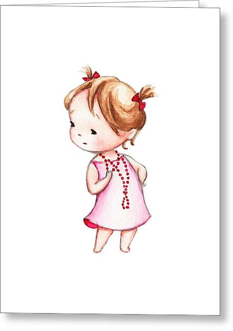 The Drawing Of Little Girl In Red Beads Greeting Card