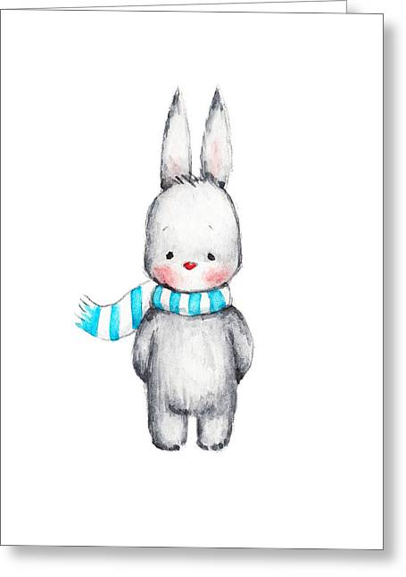 The Drawing Of Cute Bunny In Scarf Greeting Card by Anna Abramska