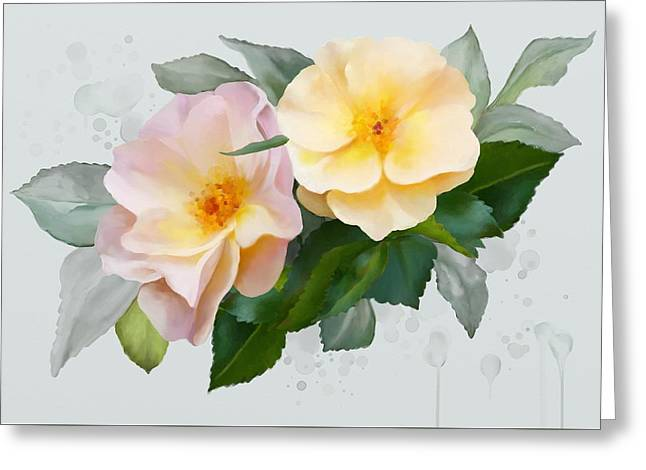 Two Wild Roses Greeting Card by Ivana Westin
