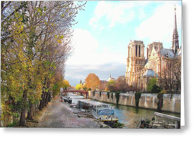 The Seine And Quay Beside Notre Dame, Autumn Greeting Card