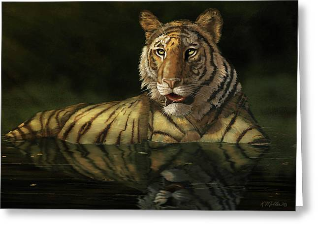 Tiger In The Water Greeting Card by Kathie Miller