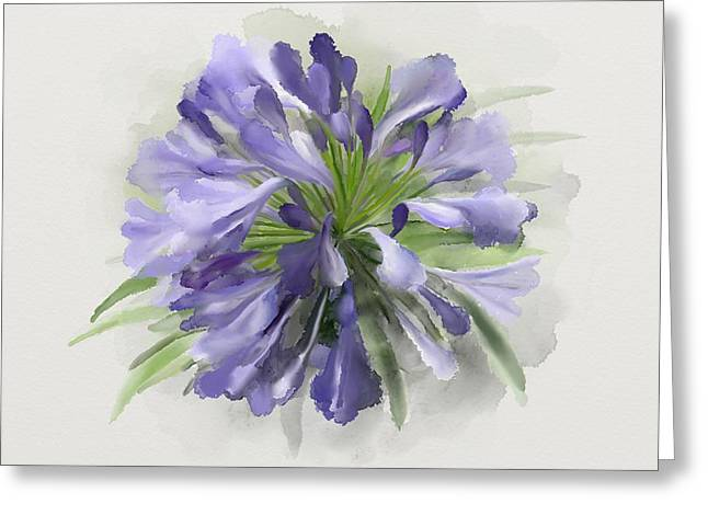 Blue Purple Flowers Greeting Card
