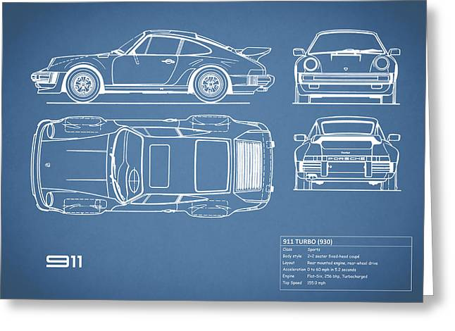 The 911 Turbo Blueprint Greeting Card