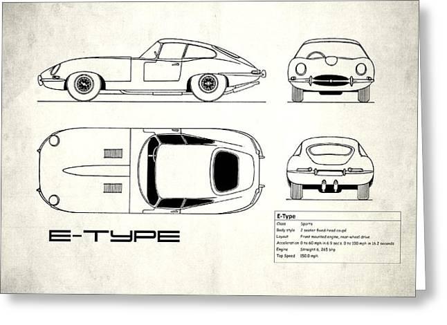 Jaguar E Type Blueprint Design Greeting Card by Mark Rogan