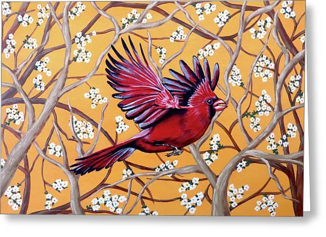 Cardinal In Flight Greeting Card