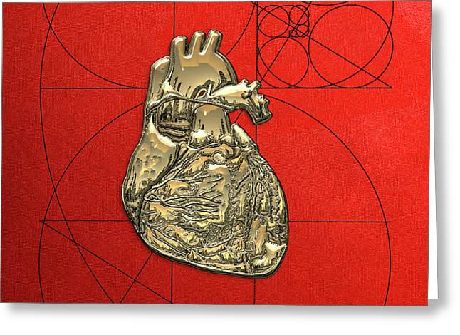 Heart Of Gold - Golden Human Heart On Red Canvas Greeting Card