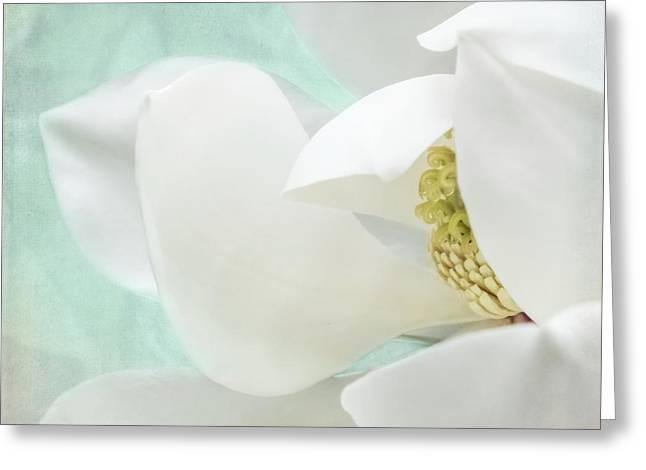 Magnolia Blossom, Soft Dreamy Romantic White Aqua Floral Greeting Card