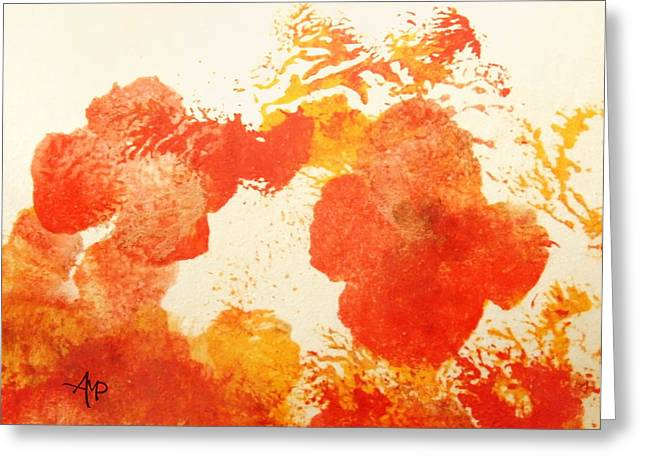 Abstract Poppies Greeting Card by Angeles M Pomata