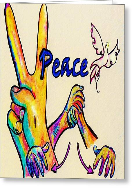 Asl Peace Greeting Card by Eloise Schneider