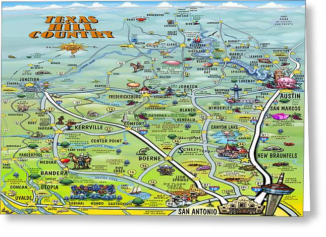 Texas Hill Country Cartoon Map Greeting Card